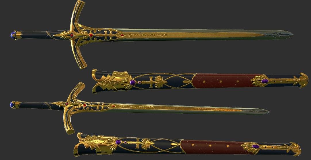 Caliburn Sword and Sheath 3D model Download for Free