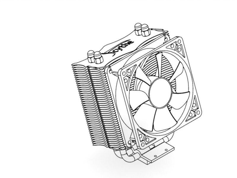 Cpu cooler Scythe Katana 3D model