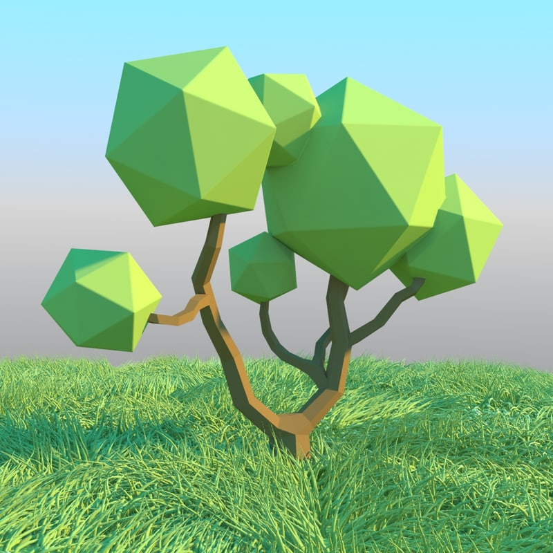 Low poly tree 3D model Download for Free