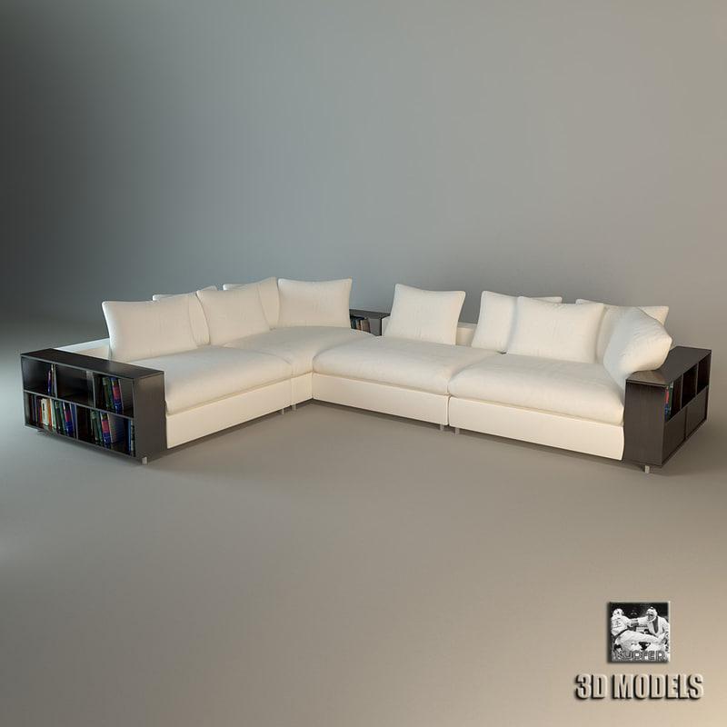 Modern Big Liveroom Sofa 3d Model Download For Free