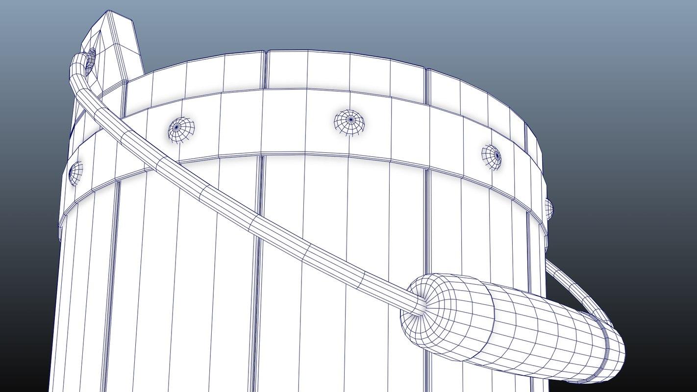 Wooden Bucket 3D model