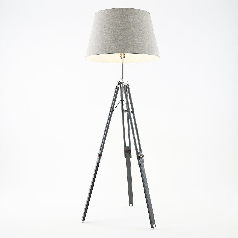 Grey Tripod Lamp 3D model