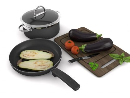 Kitchenware with vegetables