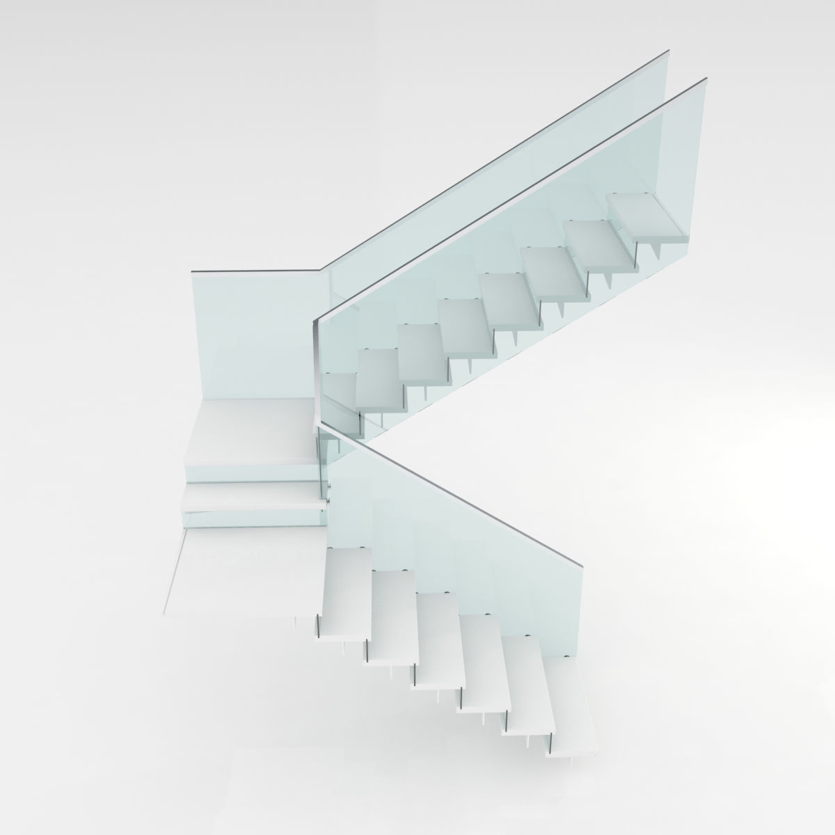 Modern glass stairs 3D model
