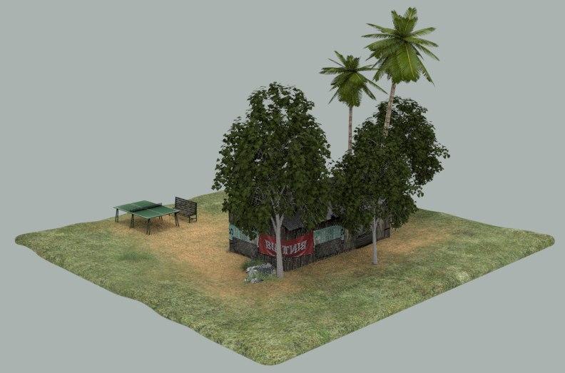 Shack scene 3D model