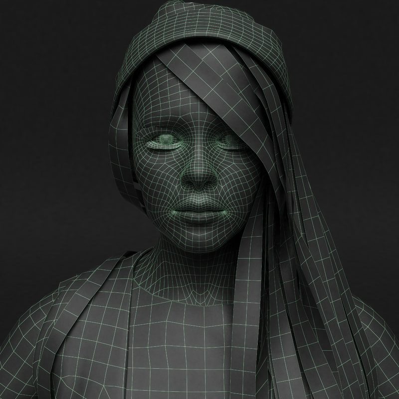 Young Rigged Female 3D model