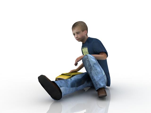 Boy with a car 3D model