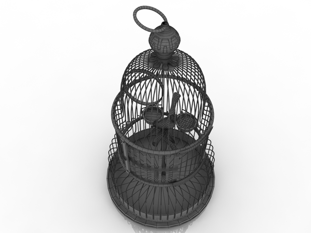 Cage with a parrot 3D model