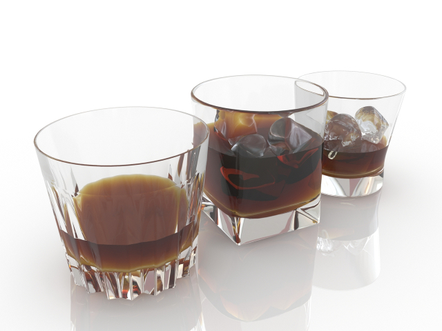 Glasses of whiskey 3D model