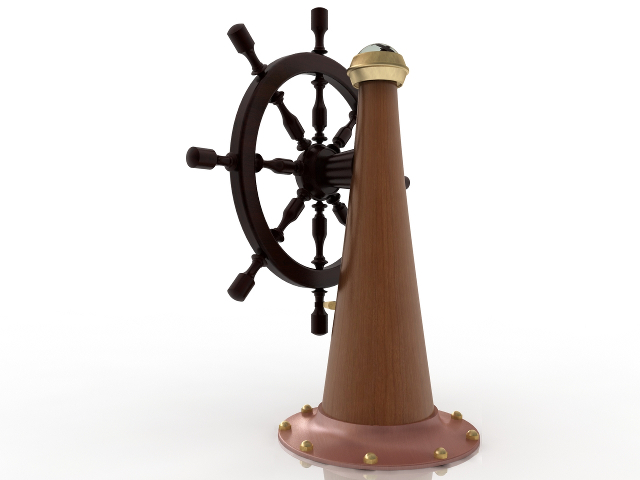 Ship's steering wheel 3D model