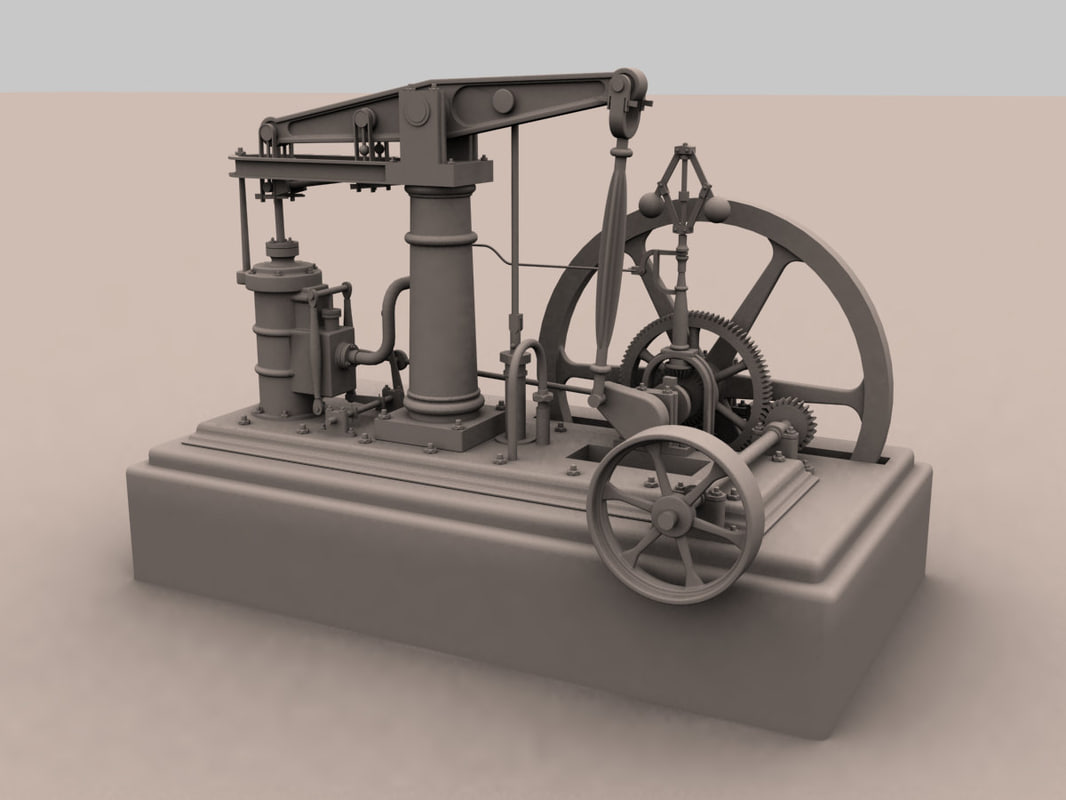 Steam engine 3D model