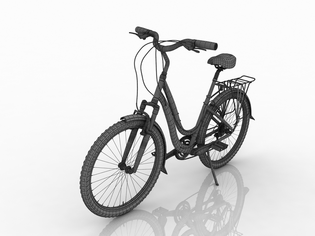 Women's bicycle blue 3D model