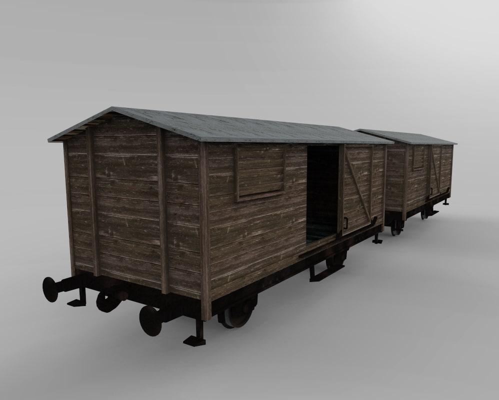 Wooden train cars 3D model