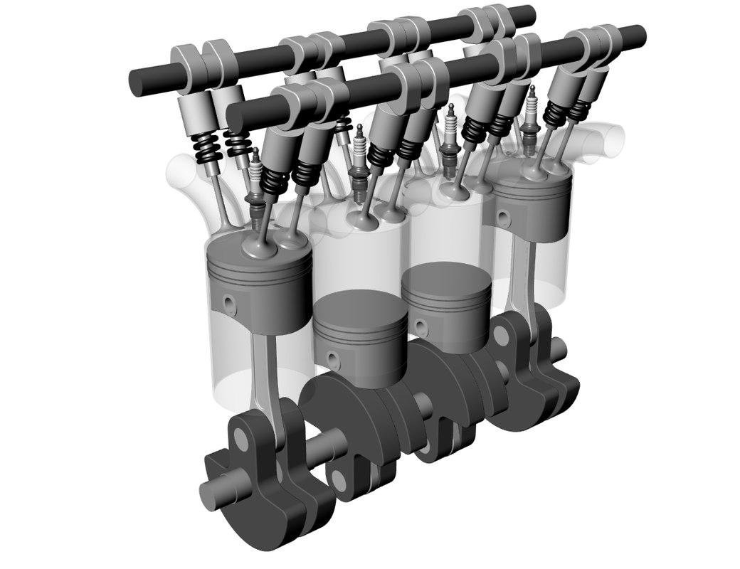 Car V16 engine 3D model
