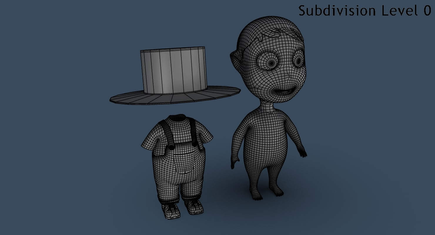 Cartoon Boy with hat 3D model