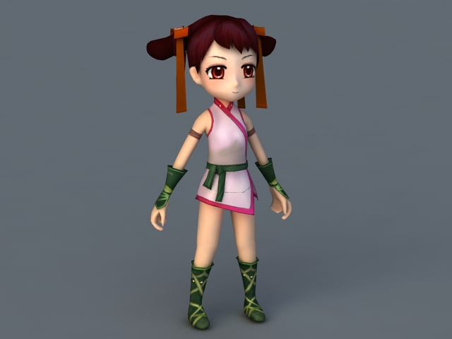 Cartoon anime girl 3d model