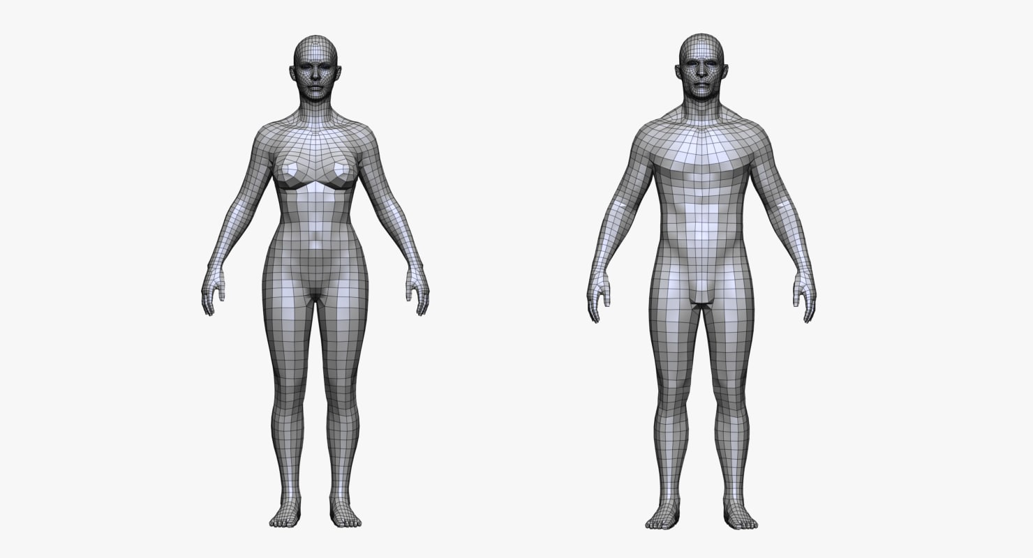Man and woman 3D model