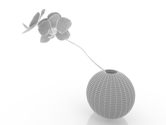 Orchid in vase 3D model