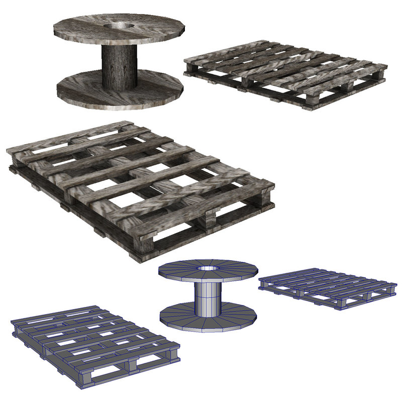 Pallets and Spool 3D model