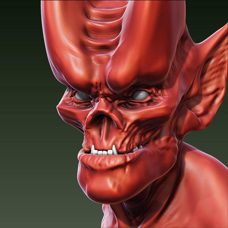 Red Demon Head 3D model
