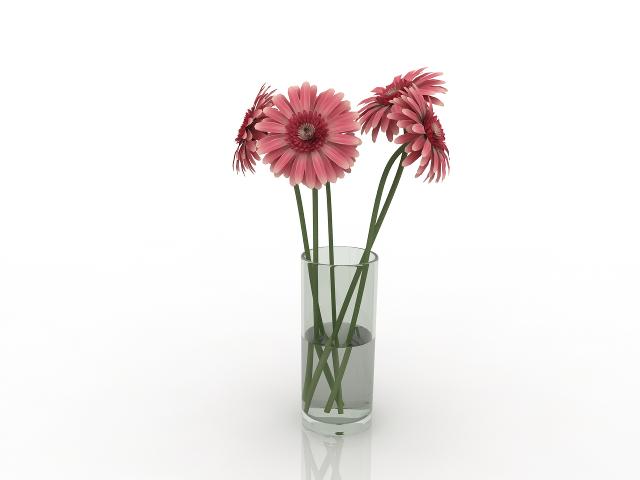 Vase with gerberas 3D model