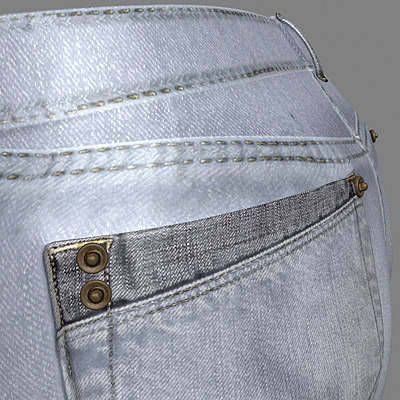 Women's Short Jeans 3D model