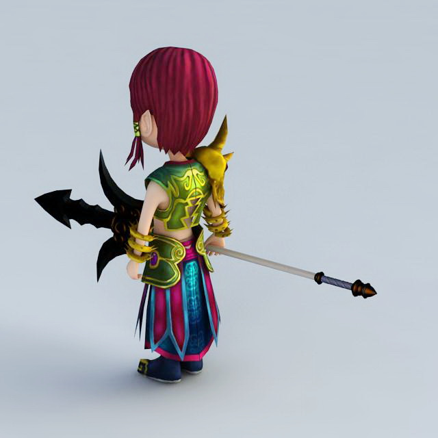 Cartoon Warrior Boy 3d model