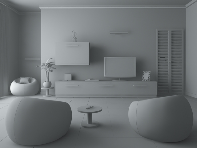 Living room green 3D model