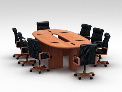 Oval Conference Desk with Chairs