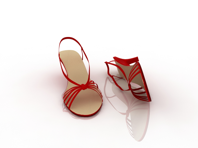 Red Evening Sandals 3D model