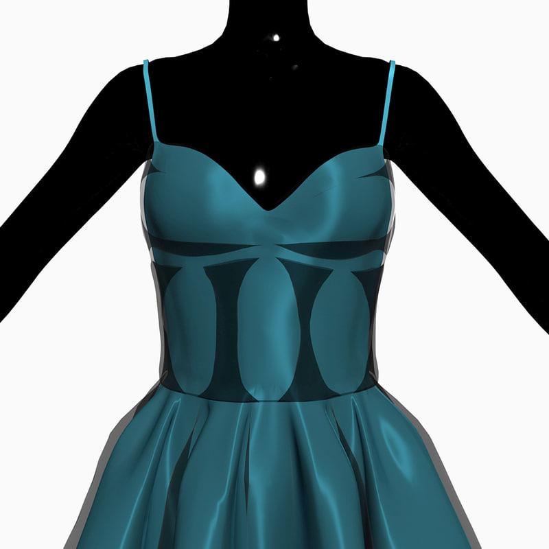 Turquoise Dress 3D model