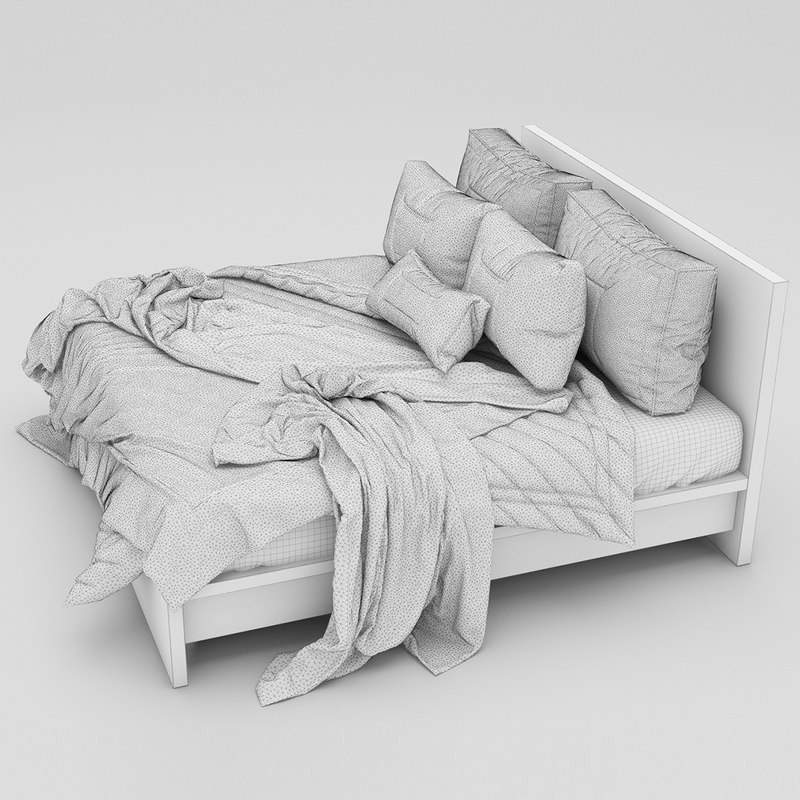 White double bed 3D model