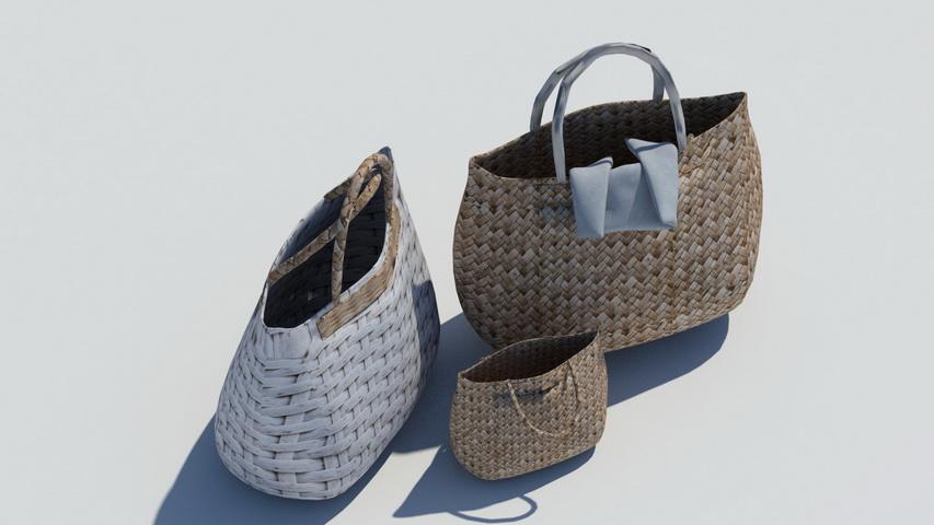 Wicker Handbags 3D model