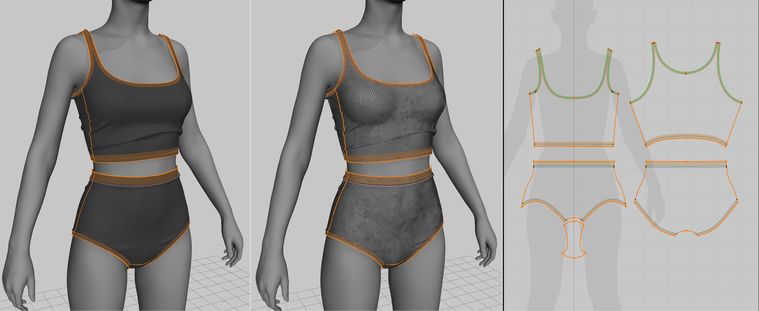 Woman's Shorts and Undergarment 3D model