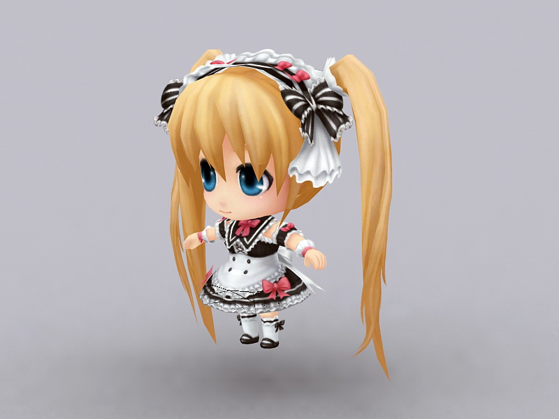 Anime Chibi Girl 3D model