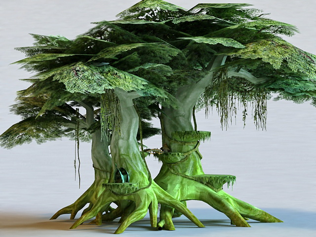 Anime Elf Tree House 3D model