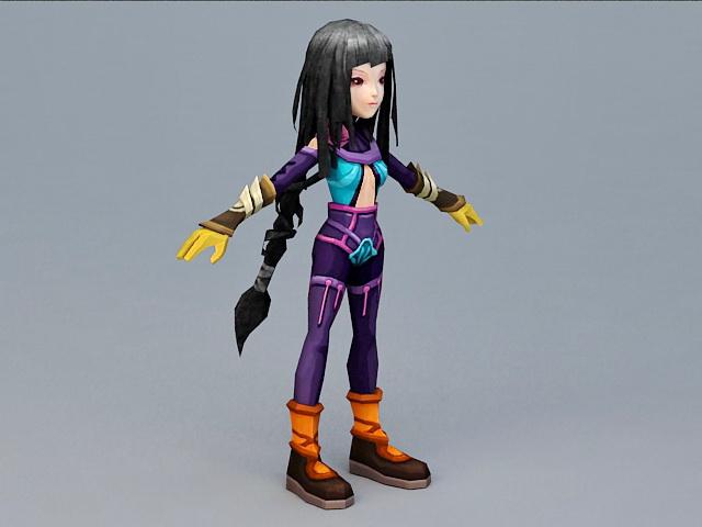 Anime Girl with Black Hair 3d model