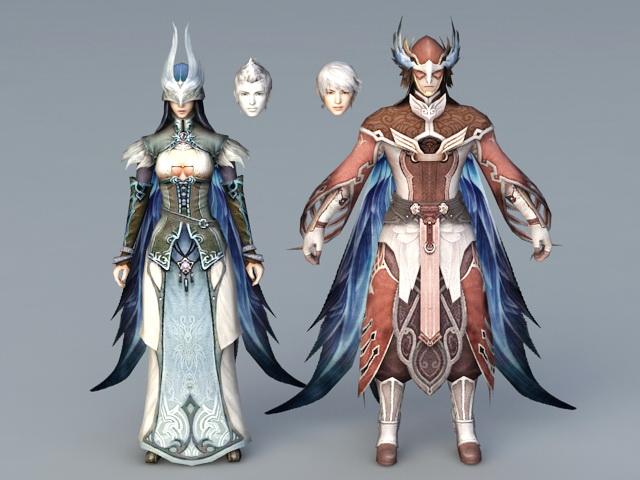 Anime Warrior Couple 3D model