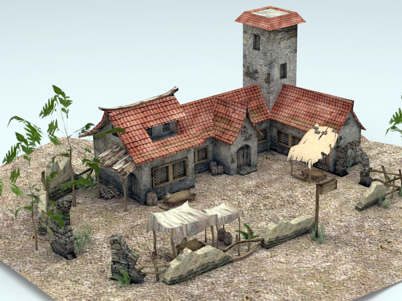 Asian Farm 3D model