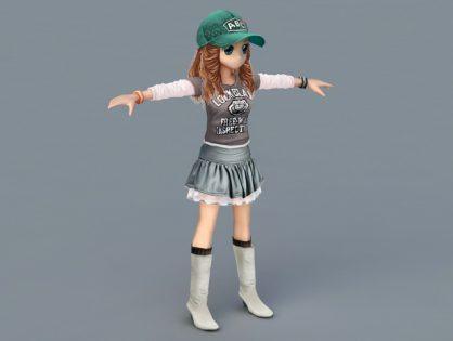 Athletic Cartoon Girl