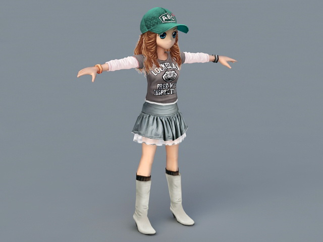 Athletic Cartoon Girl 3D model