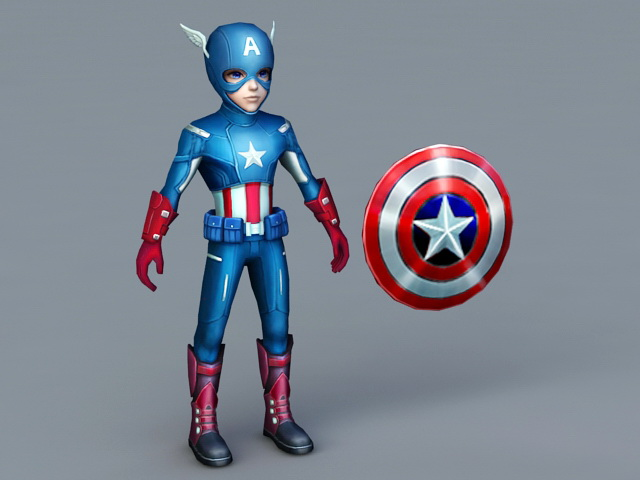 Captain America Cartoon 3d model