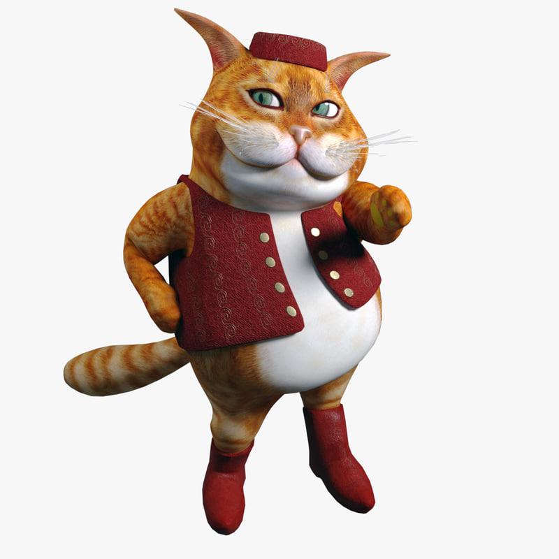 Cartoon Fat Cat 3d model