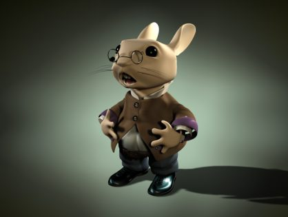 Cartoon rabbit with glasses