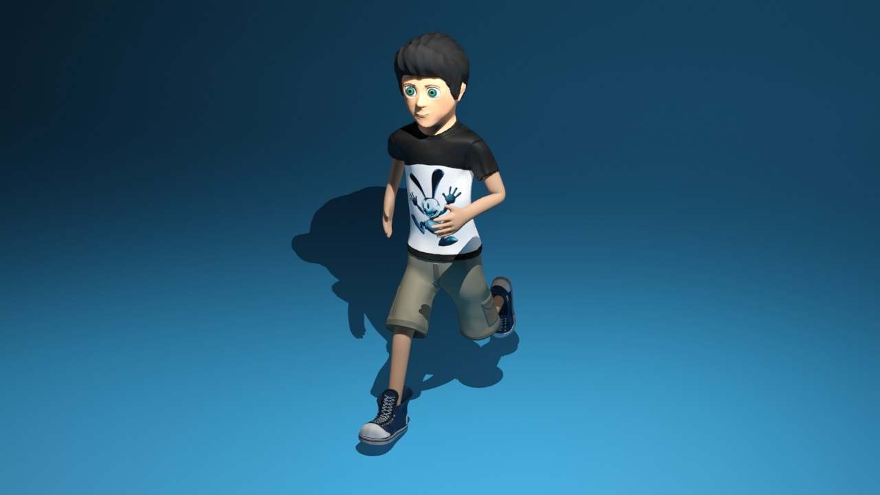 Cartoon running boy 3D model