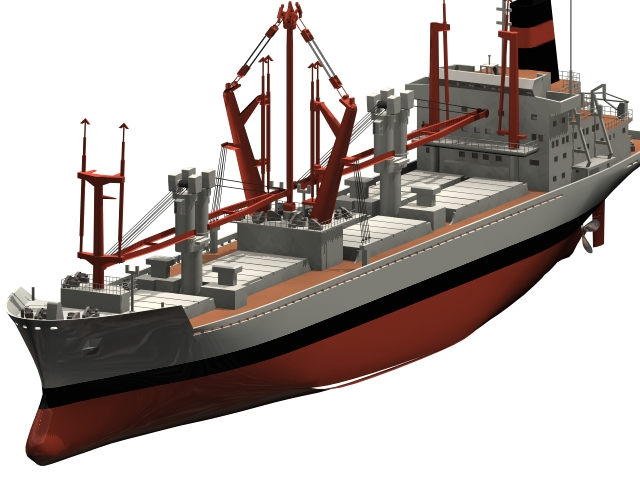 Container cargo ship 3D model