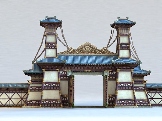 Gate of Chinese Temple 3D model