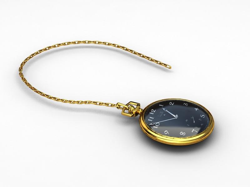Gold Pocket Watch 3D model