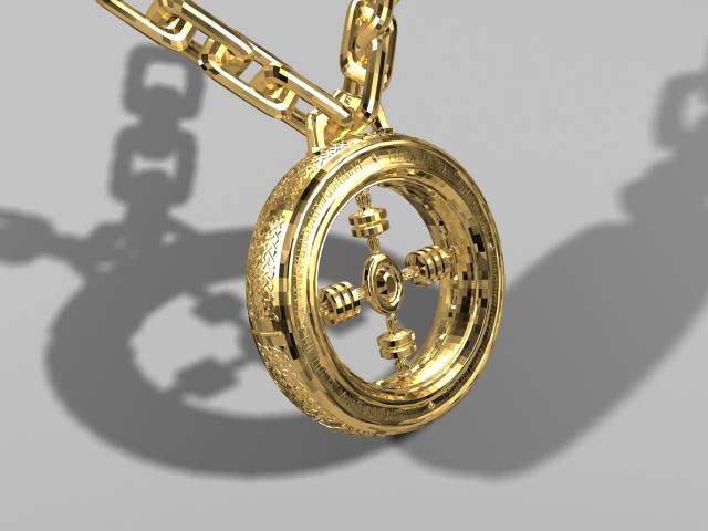 Gold pendant 3D model