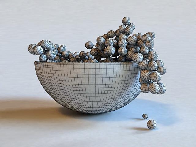 Grapes in Bowl 3D model